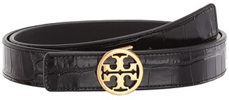 Tory Burch 1 Embossed Croc Logo Belt (Black/Gold) Women's Belts