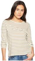 Lucky Brand Stripe Asymmetrical Ruffle Top Women's Long Sleeve Pullover