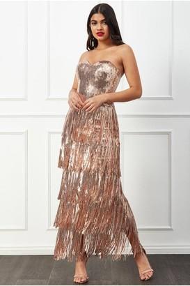 Goddiva Boobtube Sequin Fringe Maxi Dress - Champagne