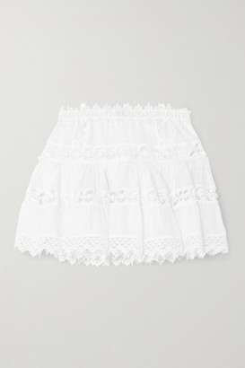 Charo Ruiz Ibiza Greta Crocheted Lace-paneled Cotton-blend Mini Skirt - White