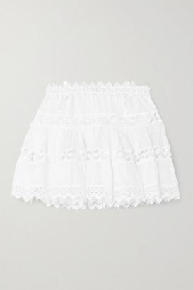 Charo Ruiz Ibiza Greta Crocheted Lace-paneled Cotton-blend Mini Skirt