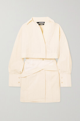 Jacquemus Terraio Buckled Cutout Cotton-blend Mini Shirt Dress