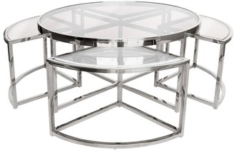 Darcy And Duke Sundance Nesting Coffee Table 5 Piece Silver With Clear Glass