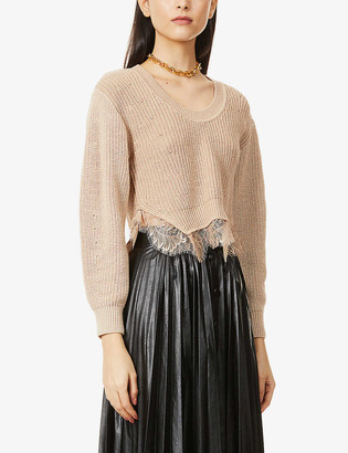 Self-Portrait Floral lace-trim cotton and wool-blend jumper