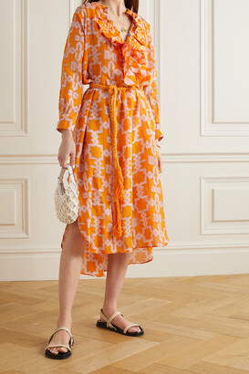 Yvonne S Belted Ruffled Printed Linen Midi Dress - Orange
