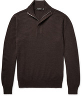 Ermenegildo Zegna Suede-trimmed Cashmere Half-zip Sweater - Dark brown