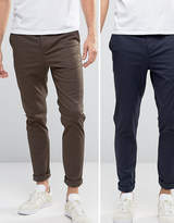 Asos 2 Pack Skinny Chinos In Navy & Brown Save