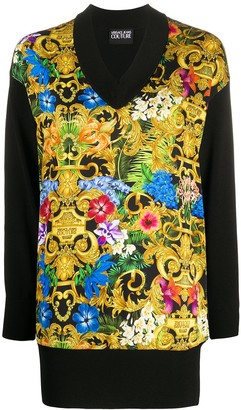 Versace Jeans Couture Barocco flower print longline knitted top