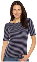 Lilla P Elbow Sleeve Slit Neck Women's Clothing
