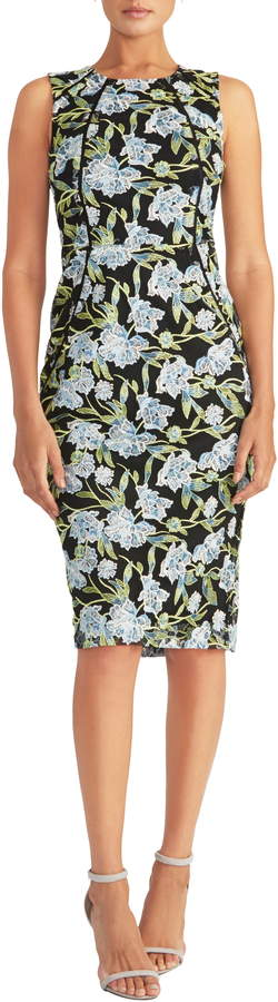 Rachel Roy Embroidered Floral Sheath Dress