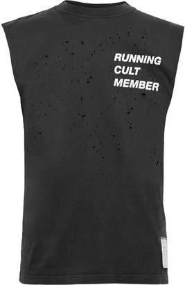 Satisfy Distressed Printed Combed Cotton-Jersey Tank Top