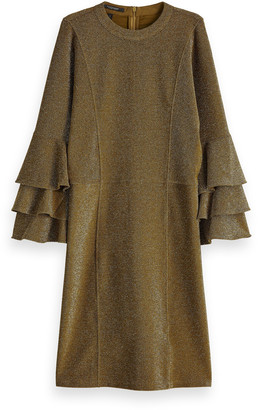 Scotch & Soda Gold Polyester Ruffled Dress with Lurex - polyester | gold | s - Gold/Gold