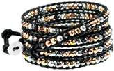 Beautiful Silver Jewelry Lyric Goldtone, Silvertone, Gunmetal, Copper-tone Bead Mix Black Leather 5x Wrap Bracelet, Gift Box