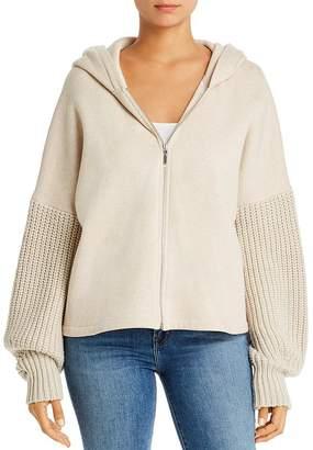 Elie Tahari Odine Sweater-Knit-Sleeve Zip Hoodie