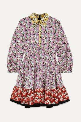 Valentino Ruffled Floral-print Cotton-poplin Mini Dress - Red
