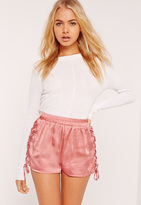 Missguided Lace Up Side Satin Shorts Pink