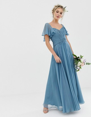 Asos Design DESIGN Bridesmaid pleated bodice maxi dress with flutter sleeve-Blue