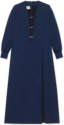 Gucci Deep V-neck viscose silk faille dress