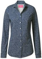 Charles Tyrwhitt Navy and White Spot Print Semi Fitted Stretch Jersey Synthetic Casual Shirt Size 12