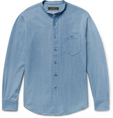 Freemans Sporting Club Slim-Fit Grandad-Collar Denim Shirt