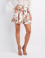 Charlotte Russe Floral Pleated Skater Skirt