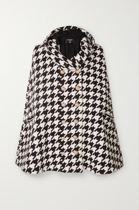Balmain Hooded Houndstooth Wool-blend Cape - Black