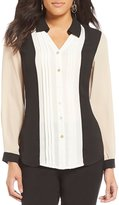 Investments Petites Long Sleeve Button Front Color Block Blouse