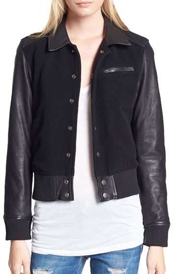 Current/Elliott Leather Sleeve Varsity Bomber Jacket