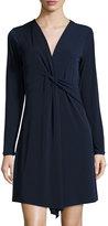 MICHAEL Michael Kors Deep-V Twist-Tie Front Dress, Real Navy