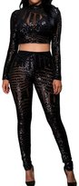 Min Qiao Women's Sexy Sequins Long Sleeves Crop Top Long Pants Overall Clubwear Two Pieces Set