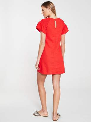 Very Linen Ruched Sleeve Tunic - Red