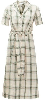 Ephemera - Belted Checked Shirt Dress - Green Print