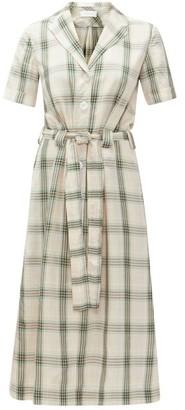 Ephemera - Belted Checked Shirt Dress - Womens - Green Print