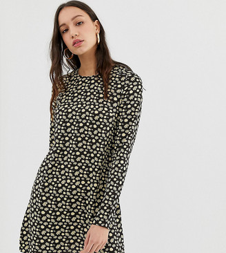 Glamorous Tall long sleeve swing dress in buttercup floral-Black
