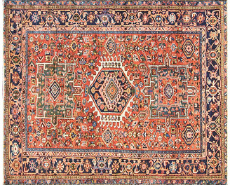 """One Kings Lane Vintage Antique Persian Heriz Rug - 4'10"""" x 6'1"""" - Eli Peer Oriental Rugs - red/multi"""
