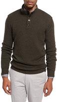 Ermenegildo Zegna Cashmere Button-Neck Pullover, Olive