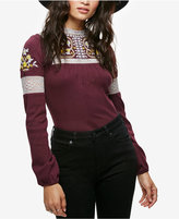 Free People Cozy On Up Embroidered Mock-Neck Top