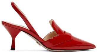 Prada Red DOrsay Slingback Heels
