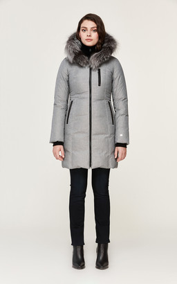 Soia & Kyo CHRISTY brushed down coat with removable silver fur