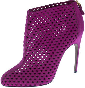 Sergio Rossi Purple Suede Cut Out Ankle Booties Size 41