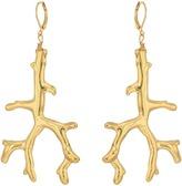 Kenneth Jay Lane Polished Gold Branch Eurowire Ear Earrings Earring