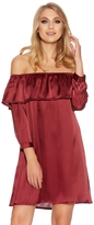 Quiz Berry Satin Frill 3/4 Sleeve Tunic Dress