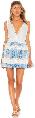 CHIO Silk Ruffle Macrame Mini Dress