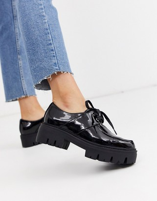 Asos Design DESIGN Map chunky flat shoes in black