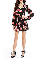 GB Long Sleeve Open Back Wrap Front Floral Romper