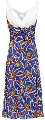 Stella Jean Paneled Knotted Printed Crepe De Chine Dress