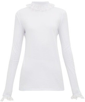 ÀCHEVAL PAMPA Escalada Lace-trimmed Jersey Top - Womens - White