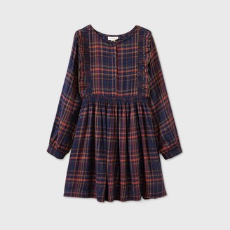 Cat & Jack Girls' Plaid Shine Long Sleeve Woven Dress - Cat & JackTM