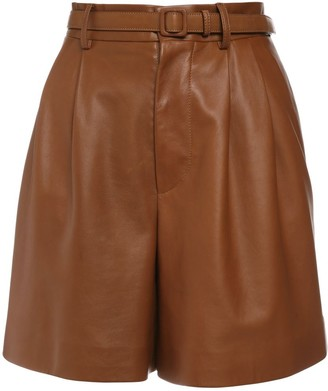 Ralph Lauren Collection High Waist Leather Shorts