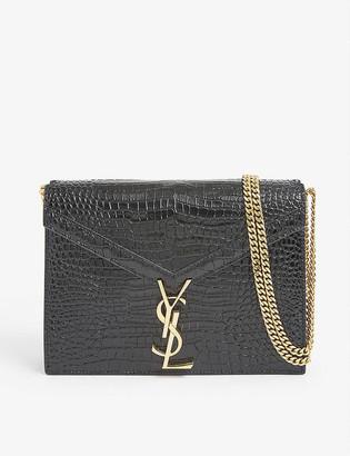 Saint Laurent Cassandra croc-embossed patent leather shoulder bag